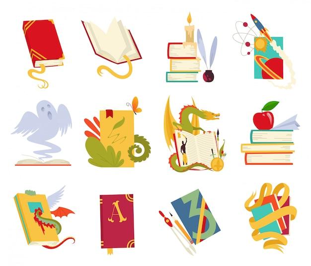 Iconos de libros con dragón, plumas de ave, vela, aple, marcador y cinta.