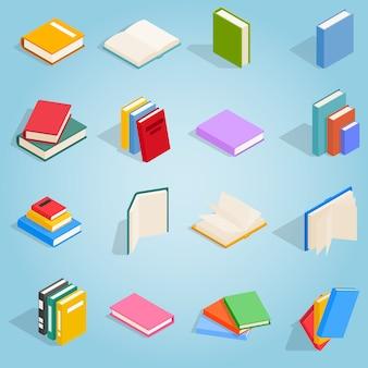 Los iconos de los libros se encuentran en estilo isométrico 3d para cualquier diseño