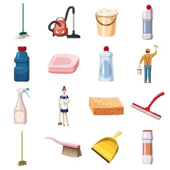 Los iconos de limpieza establecen detergentes, estilo de dibujos animados