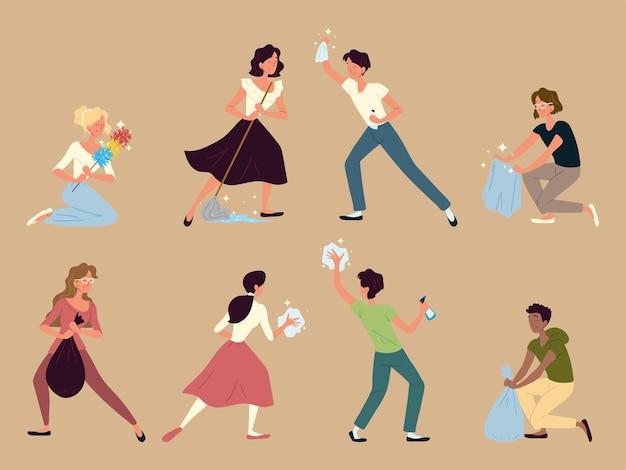 Iconos de limpieza de personas
