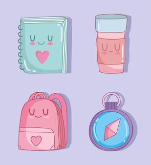 Iconos lindos de la escuela