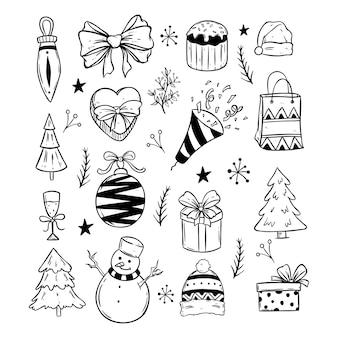 Iconos lindos de navidad con estilo doodle blanco y negro sobre fondo blanco