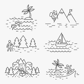 Iconos de línea de actividades de viaje o signos lineales de actividades al aire libre.