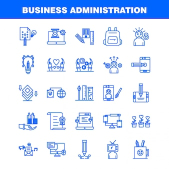 Iconos de línea de administración de empresas