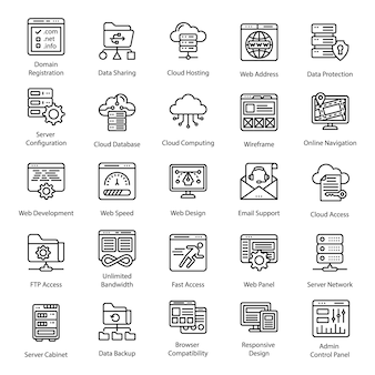 Iconos de línea de alojamiento web