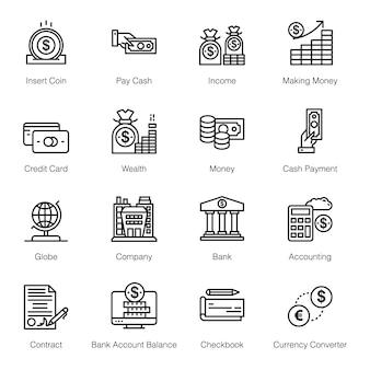 Iconos de línea bancaria