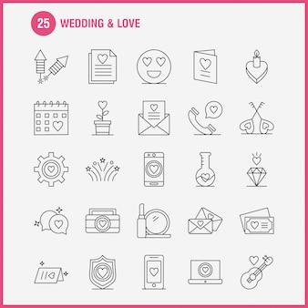 Iconos de línea de boda y amor