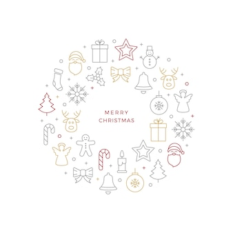 Iconos de línea de bola de navidad fondo blanco