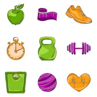 Iconos de línea de bosquejo de fitness