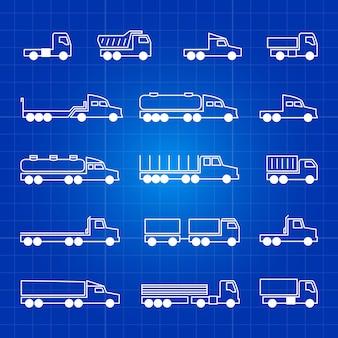 Iconos de línea de camiones blancos. símbolos aislados del esquema de transporte