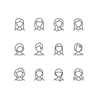 Iconos de línea de cara de mujer