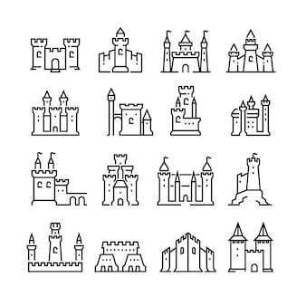 Iconos de línea de castillo medieval y antigua torre fortaleza