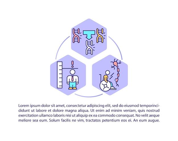 Iconos de línea de concepto de enfermedades genéticas con texto