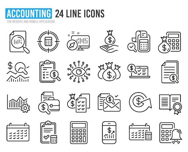 Iconos de línea contable. conjunto de cálculo, verificación de inversión e informe.