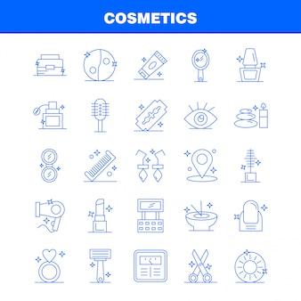 Iconos de línea de cosméticos