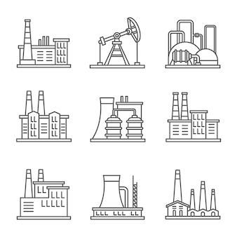 Iconos de línea delgada de fábrica y planta de energía de industria pesada