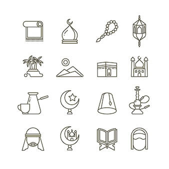 Iconos de línea delgada de religión islámica