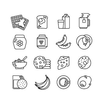 Iconos de línea de desayuno comida caliente