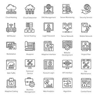 Iconos de línea de diseño web