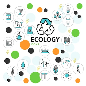 Iconos de línea de ecología establecidos con barril de petróleo panel solar bombilla eléctrica toma de batería grifo plataforma de perforación molino de viento basura