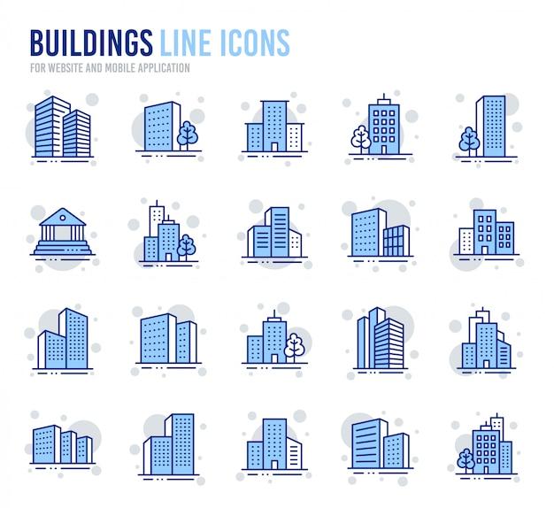 Iconos de línea de edificios. banco, hotel, palacio de justicia. arquitectura de la ciudad, construcción de rascacielos.