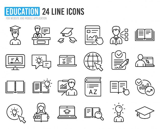 Iconos de línea de educación. libro universitario, video tutorial.