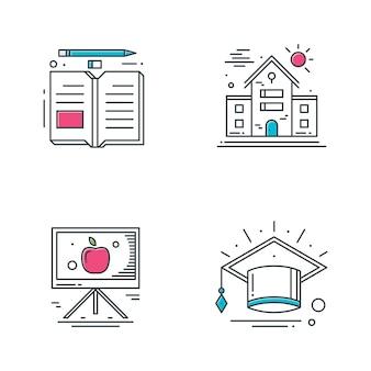 Iconos de línea de educación.