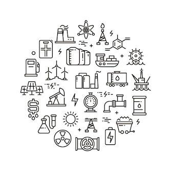 Iconos de línea de energía, energía y combustible