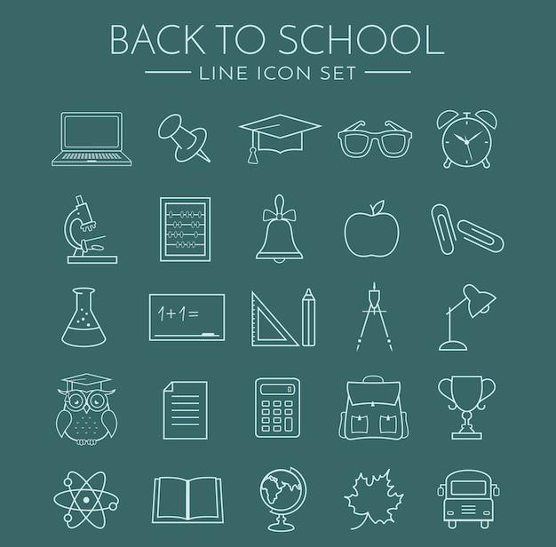 Iconos de la línea de la escuela