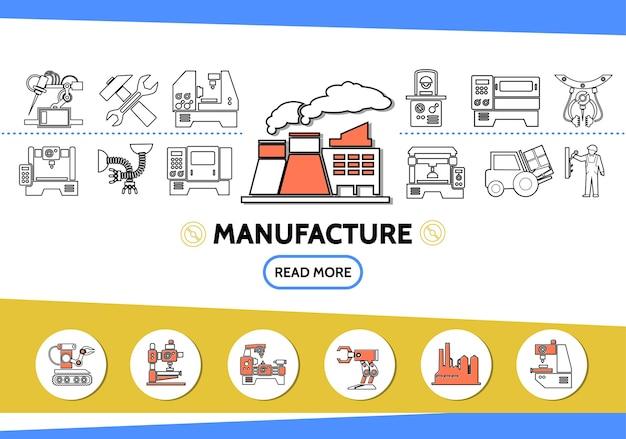 Iconos de línea de fabricación con equipo industrial de carretilla elevadora de ingeniero de martillo llave de fábrica