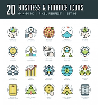 Los iconos de la línea fijaron el negocio linear y el concepto lineares finos modernos de moda del vector y del concepto del vector