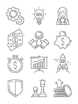 Iconos de línea de finanzas. símbolos de negocios estrategia de equipo y esbozo de inicio web de apoyo económico