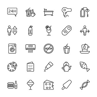 Iconos de línea de hotel