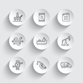 Iconos de línea de la industria petrolera, boquilla de gasolina, barril, plataforma de producción de petróleo y gas