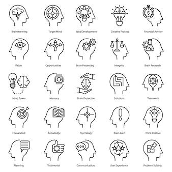 Iconos de línea de lluvia de ideas