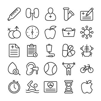 Iconos de línea médica, sanitaria y hospitalaria