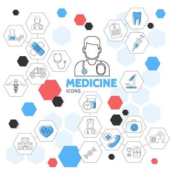 Iconos de línea de medicina en la colección de hexágonos con médico enfermera píldoras ambulancia coche diente equipo médico