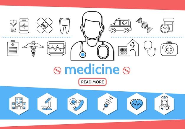 Iconos de línea de medicina con médico enfermera jeringa microscopio diente ambulancia coche adn píldoras caduceo