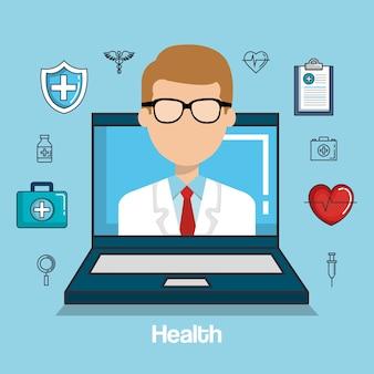 Iconos en línea de medicina de salud