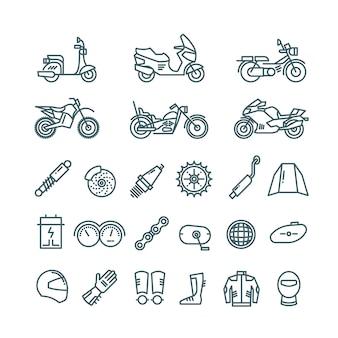 Iconos de línea de motocicletas, autopartes y accesorios de motos