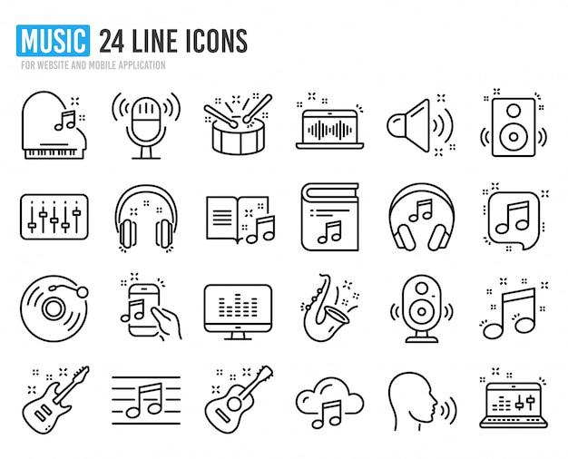 Iconos de línea de música conjunto de guitarra acústica, nota musical y disco de vinilo.