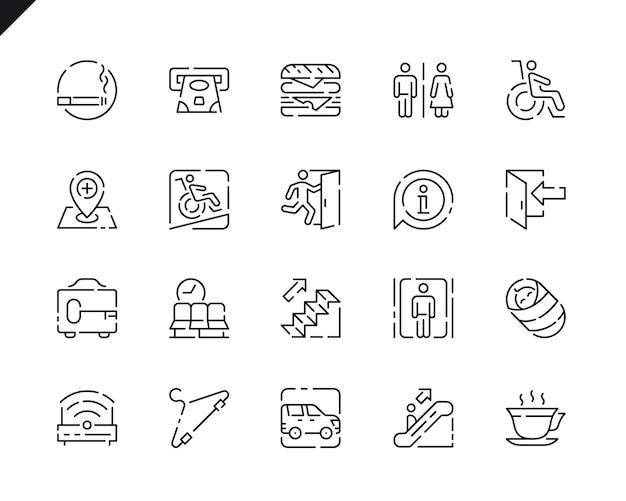 Iconos de línea de navegación pública de conjunto simple