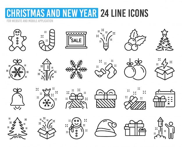 Iconos de línea de navidad. conjunto de gorro de papá noel, hombre de jengibre y caja de regalo.
