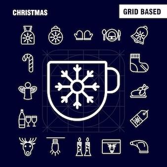 Iconos de línea navideña