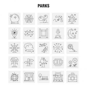 Iconos de línea de parques