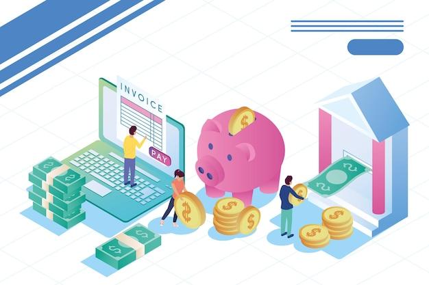 Iconos en línea de personas y bancos