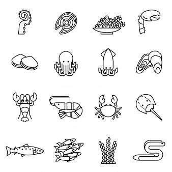 Los iconos de la línea de los pescados y de los mariscos fijaron con el fondo blanco.