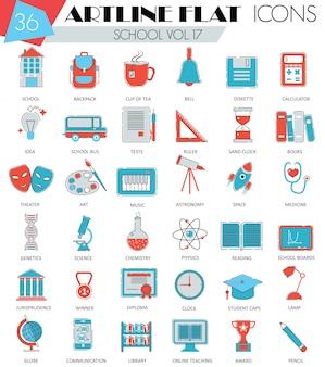 Iconos de línea plana de colegio universidad