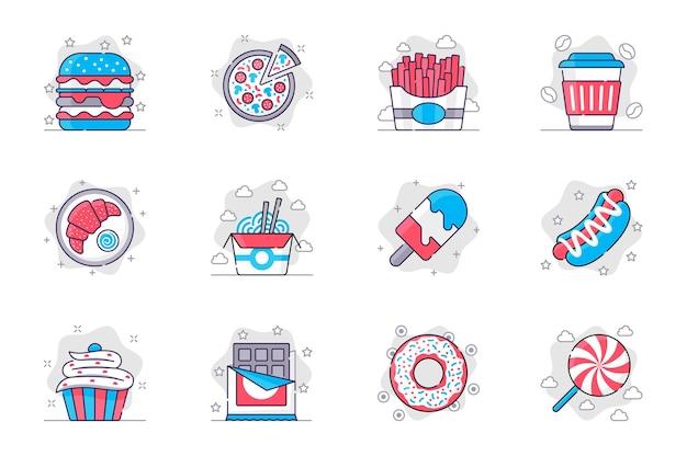 Los iconos de línea plana de concepto de comida rápida establecen sabrosos alimentos no saludables y dulces para aplicaciones móviles
