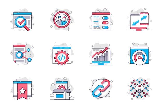 Los iconos de línea plana del concepto de optimización de seo establecen la configuración y la promoción de sitios web en línea para aplicaciones móviles